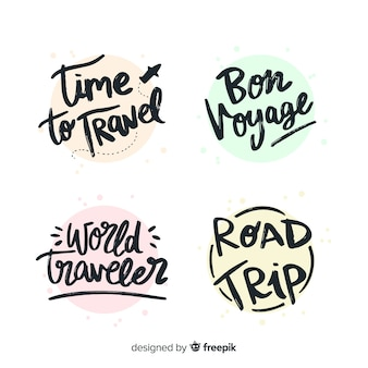 Colorful travel lettering badge collection