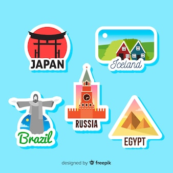 Colorful travel sticker collection