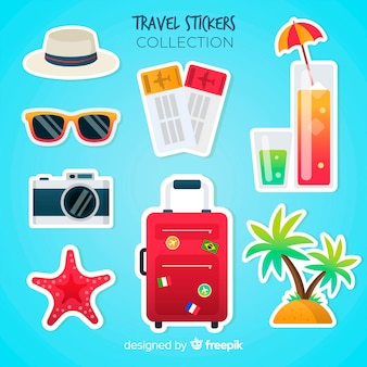 Colorful travel sticker set
