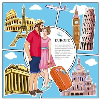 Красочная композиция travel to europe с влюбленной парой в самолете и знаменитыми достопримечательностями рима афины лондон париж ватикан