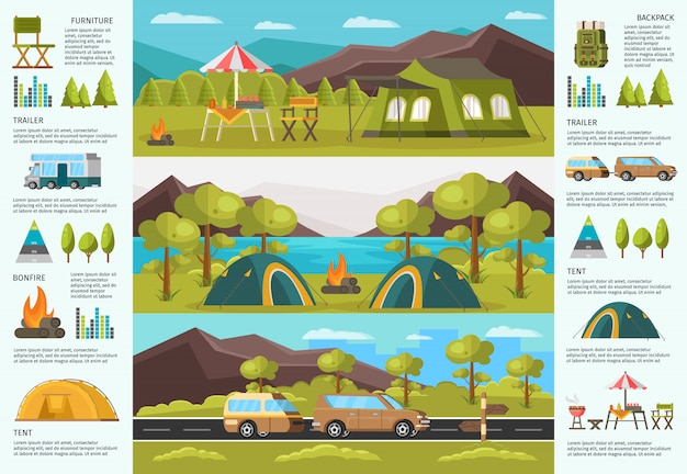 Colorful traveling camping infographic template