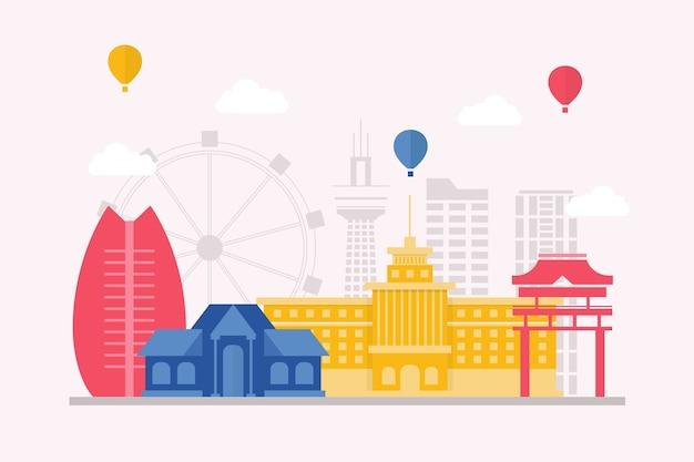 Colorful traveling landmarks skyline