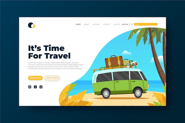 Colorful travelling landing page template