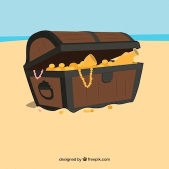Colorful treasure box with flat design