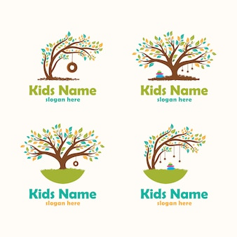 Colorful tree child care logo inspiration flat design collection