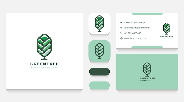 Colorful tree logo template and business card