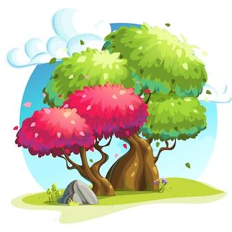 Разноцветные деревья под облаками