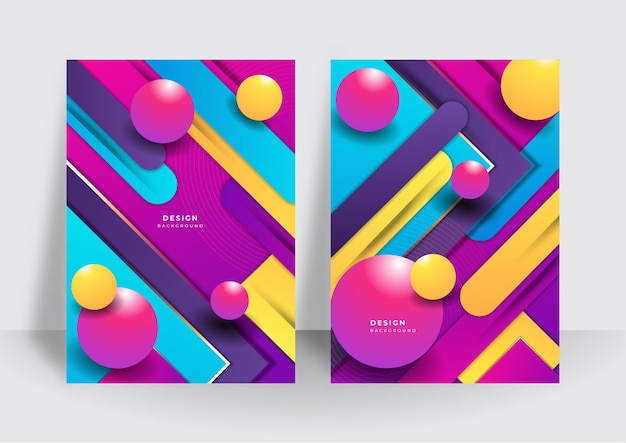 Colorful trendy abstract 3d geometric background for brochure cover design template. vibrant contrast pattern background with abstract shapes and colors. modern vector pattern