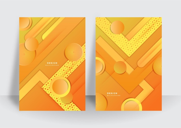 Colorful trendy abstract 3d geometric orange background for brochure cover design template. vibrant contrast pattern background with abstract shapes and colors. modern vector pattern