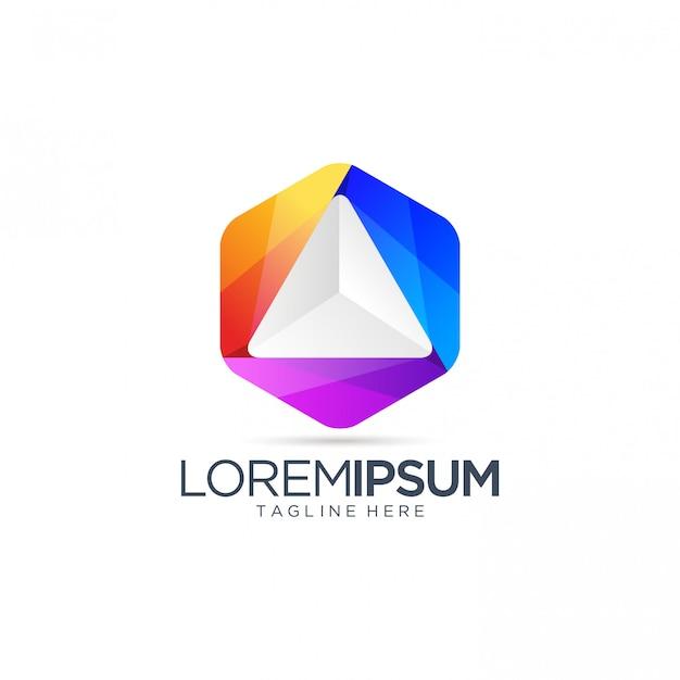 Colorful triangle logo design vector template
