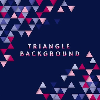 Colorful triangle patterned on blue background