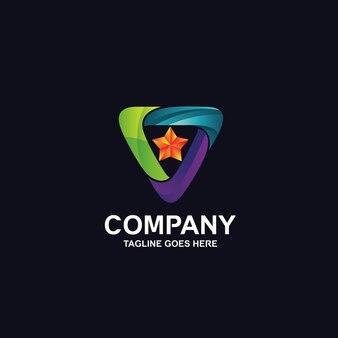Красочный треугольник со звездным логотипом