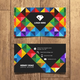 Colorful triangles business card design