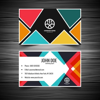 Colorful triangular pattern visiting card
