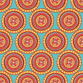 Colorful tribal beautiful abstract seamless round patterns