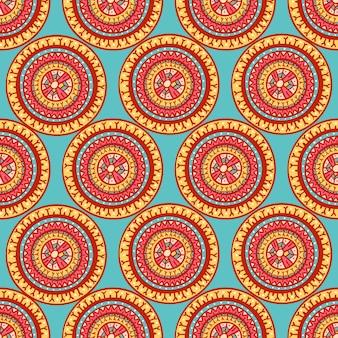 カラフルな部族の美しい抽象的なシームレスなラウンドパターン