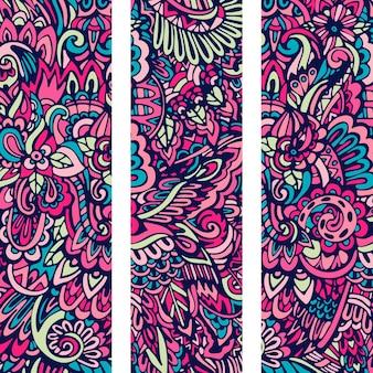 다채로운 부족 민족 추상 꽃 배너 세트입니다.