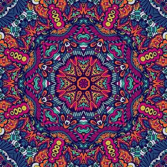 다채로운 부족 민족 축제 추상 꽃 패턴입니다. 기하학적 얽힌 만다라