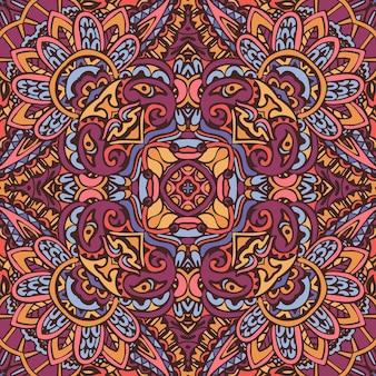 Красочный племенной этнический праздничный абстрактный цветочный узор вектор. геометрическая мандала бесшовный дизайн