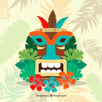 Colorful tribal mask with flat design