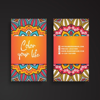 Colorful tribal vintage business card