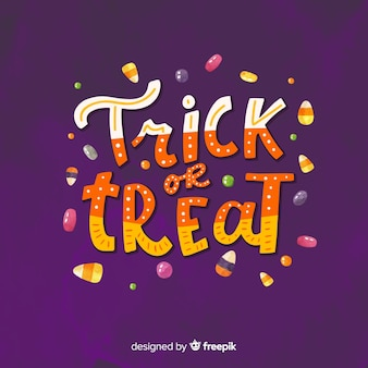 Colorful trick or treat lettering
