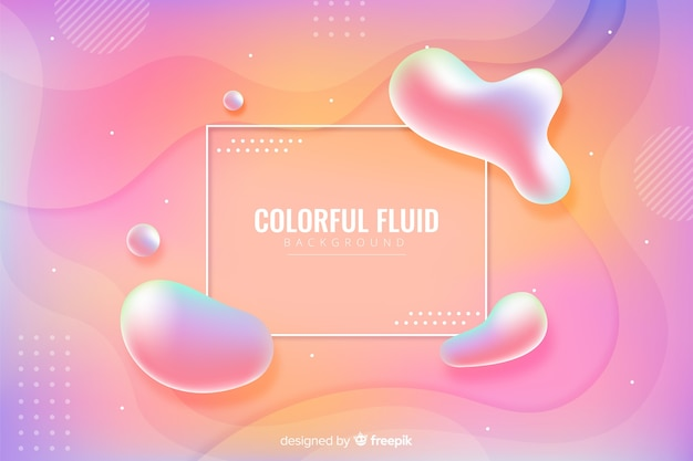 Colorful tridimensional fluid shapes background