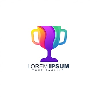 Colorful trophy abstract logo design template