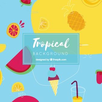 Красочный тропический фон с плоским дизайном