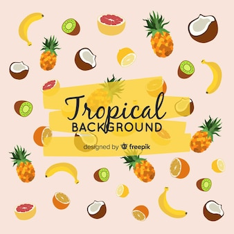 Colorful tropical background with fruits