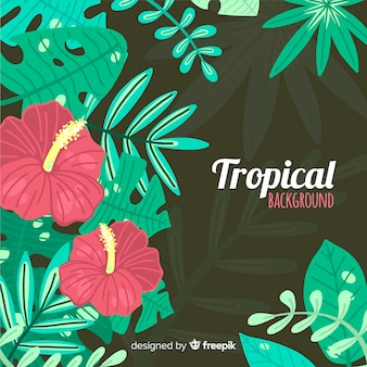 Colorful tropical background with leaves and flowers