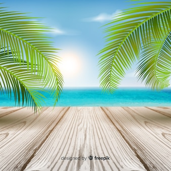 Colorful tropical background with leaves and wooden floor