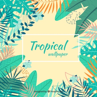 Colorful tropical background with leaves