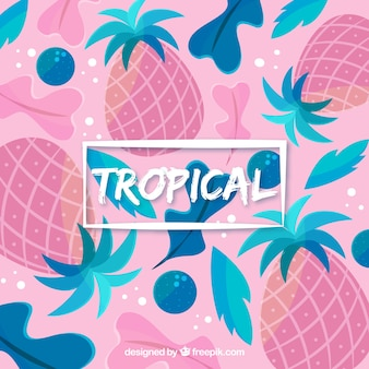 Colorful tropical background with pineapples and leaves