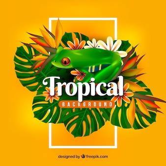 Красочный тропический фон с реалистичным дизайном