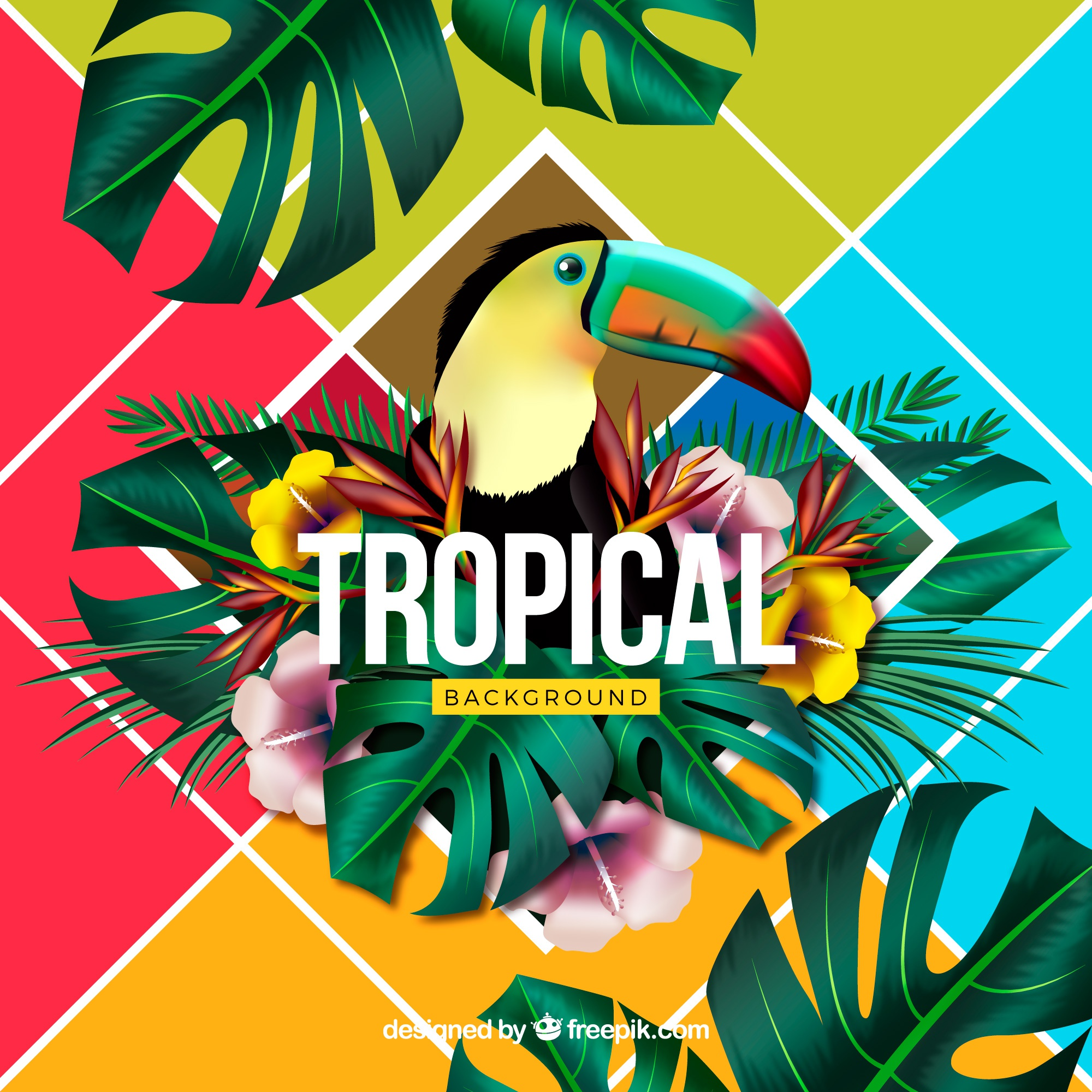 Colorful tropical background with realistic design