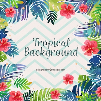 Colorful tropical background with watercolor leaves and flowers