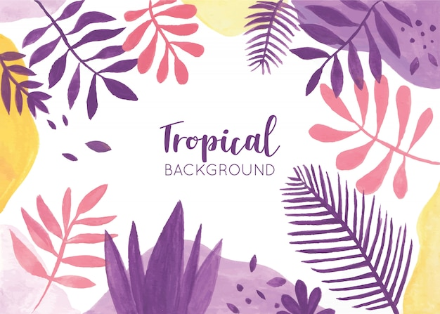 Colorful tropical background with watercolor leaves