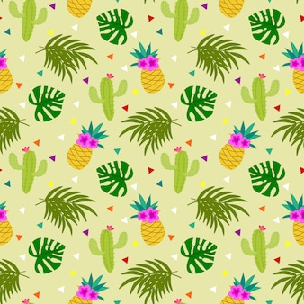 Colorful tropical element seamless pattern.