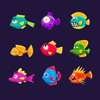 Набор красочных тропических рыб
