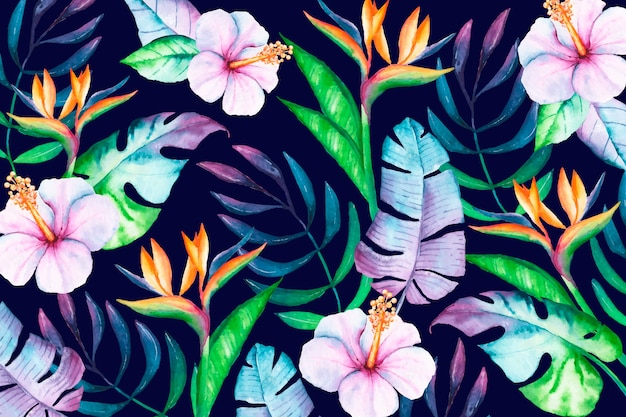 Colorful tropical floral background