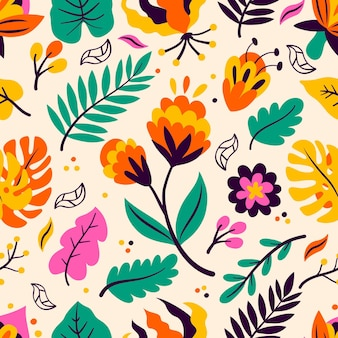 Colorful tropical floral pattern