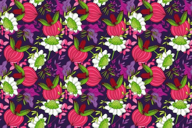 Motivo floreale tropicale colorato