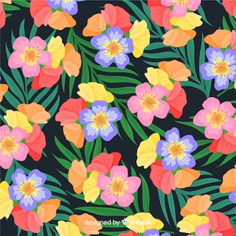 Colorful tropical flower pattern background