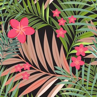 다채로운 열 대 꽃, 식물 및 잎 패턴 배경.