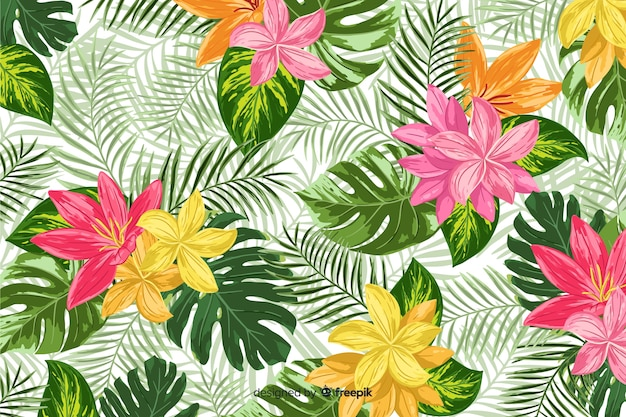 Colorful tropical flowers decorative background