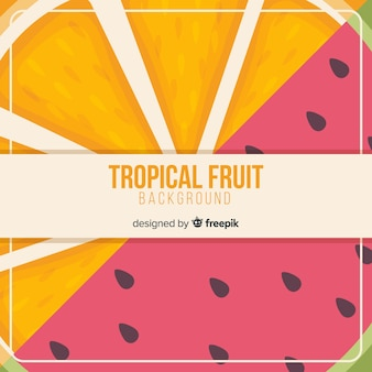 Colorful tropical fruit background in flat design