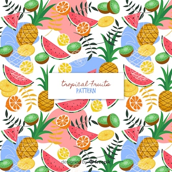 Colorful tropical fruits pattern