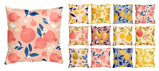 Colorful tropical fruits seamless pattern collection