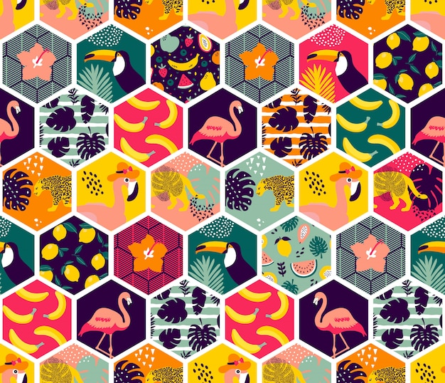 Colorful tropical hexagon pattern